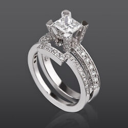 Diamond Ring Band Set 1.97 Ct Earth Mined 18 Kt White Gold Vs1 Princess Flawless