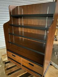 Ucd Wood 41.75 Brown Product Retail Store Display Candy Fixture Shelf W/drawers