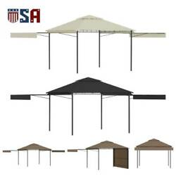 Gazebo With Double Extending Roof Shelter Bbq Party Tent 2-tier Canopy Shade Set