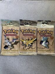 Pokemon Trading Card Game - Three-set Fossil Booster Packs - Sealed