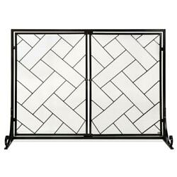 2 Panel Wrought Iron Geometric Fireplace Screen With Magnetic Doors 44 X 33 Inch