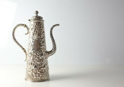 S. Kirk And Son Coin 900 Silver Repousse Turkish Coffee Pot Late 19th Century