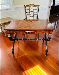Luxury Antique Inlaid Mahogany Chess And Backgammon Georgian Game Tbl W/ 2 Chairs