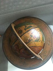 Antique Olde World Globe - Made In Italy - Spins - Zodiac Signs 9and039and039x 6.5