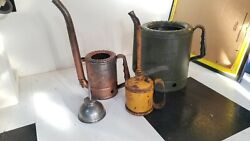 Oil Can Lot Vintage Swingspout 1 And 5 Qt Long Swing Spout Goldenrod Oiler Tin Man