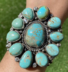 Native American Sterling Silver Dry Creek Turquoise Cluster Cuff Bracelet. Ky