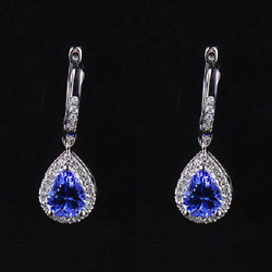 18ct White Gold Stunning Genuine Dimond And Deep Blue Tanzanite Estate Earrings