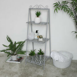 Grey Metal 3 Tier Vintage Plant Stand Shelf Freestanding Bookcase Shabby Chic