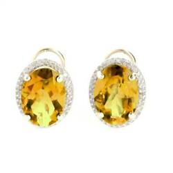 Genuine Citrine Oval Gems And Diamonds French Clip Halo Earrings In 14k Solid Gold