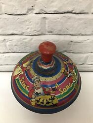 Chad Valley Vintage Spinning Top- Sing A Song Of Six Pence - Made In England