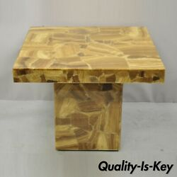 Mid Century Modern Lacquered Resin Onyx Mosaic Brown Square Accent Side Table