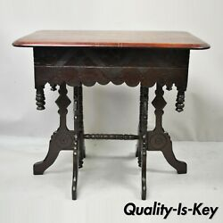Antique Eastlake Victorian Aesthetic Movement Carved Walnut 6 Leg Parlor Table