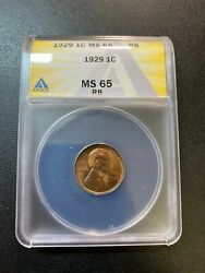 1929 Wheat Cent Anacs Ms-65 Rb - Red/brown - Uncirculated - Certified Slab - 1c