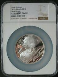 Great Britain Uk 10 Pounds 2020 Silver Proof Music Legends David Bowie Ngc Pf69