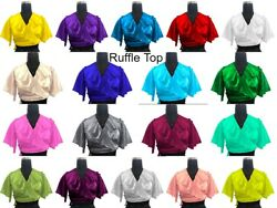 Frill Full Flair Top Special Tribal Dance Costumes Satin Women Ruffle Top S84-4