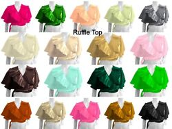 Satin Women Ruffle Top With Frill Full Flair Special Tribal Dance Costumes S84-1