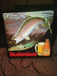 Budweiser Beer Light Sign Rainbow Trout Fish