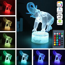 3d Elephant Lamps Remote Control Touch Switch Led 16 Colorful Light Change