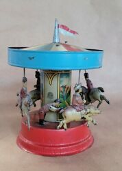 Antique Gunthermann Windup Germany Tin Toy Carousel With Pigs