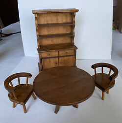 Hall's Lifetime Toys Vintage 4pc Dining Room Kitchen Set Hutch, Table, 2 Chairs