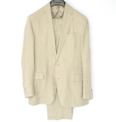 Unstructured Tan Linen Morgan Polo Casual Suit Made In Italy 40-us