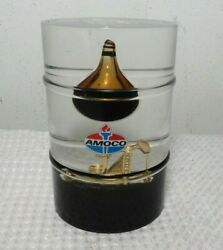 Vintage Rare Amoco Golden Oil Rig Lucite Acrylic Desk Display Paperweight Look