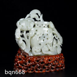 6.5 Ming Dynasty Antique Hetian Jade Natural Hollow Out Lotus Fish Creel Statue