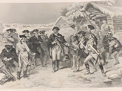 George Washington Committee Of Congress At Valley Forge Antique Steel Engraving