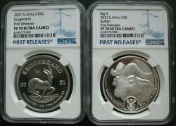 South Africa R5 2021 Silver Proof Two Coins Buffalo Krugerrand Privy Ngc Pf70 Fr