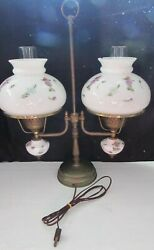 Antique Electric Brass Double Student Lamp W/ Milk White Floral Globe And Chimneys
