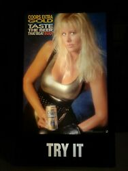 Vtg Coors Extra Gold Lighted Sign 1982 Blonde Woman Leotard 25.75x15.75x5.5
