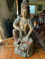 Antique Wood Guanyin/bodhisattva Gesso And Polychrome Paint China 18th-19th C.