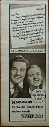 Macleans Peroxide Tooth Paste Mrs. A. H. Leicester Vintage Advertisement 1950