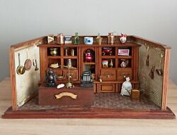 Antique Wooden Doll Toy German Store Shop With 36 Miniatures