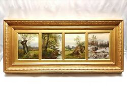 Frank H Wallace Antique Landscape Oil On Canvas A Quadtych And039the Four Seasonsand039.