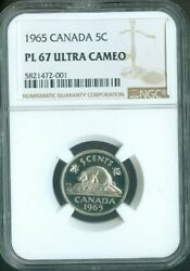 1965 Canada Five Cent Nickel Ngc Pl 67 Ultra Cameo Quality✔️