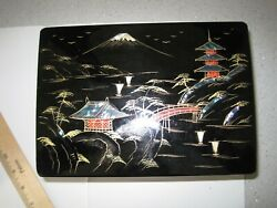 Vintage Japanese Black Lacquer Music Boxandnbsp With Mother Of Pearl Original Boxandnbsp