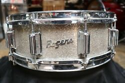 Rogers 5x14 Dynasonic Wood Snare Drum Silver Glass Glitter Vintage 1960and039s