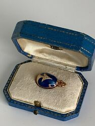 Antique Russian Faberge 14k Gold Diamonds Enamel Easter Egg With Anchor