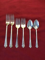 6 - Heirloom Sterling Silver By Oneida Damask Rose 4-forks 2-spoons- No Mono
