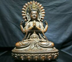 21and039and039 Pure Red Copper Gold Temple Buddhism Four Arm Avalokitesvara Guanyin Statue