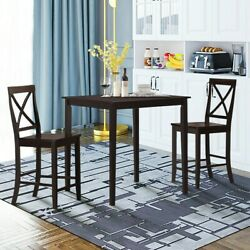 Square Dining Table Fits 4 People 35.5 Rubber Wood Legs Space-saver Espresso