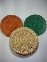Vintage Retro Wicker Paper Plate Holders Color Rattan Picnic Bbq Camping Lot 11