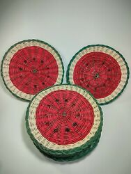 Set Of 8 Vintage Wicker Woven Watermelon Plate Holders Picnic Bbq Party