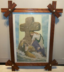 19th C.rock Of Ages Print In Adirondack Style Crossed Corner Walnut Frame