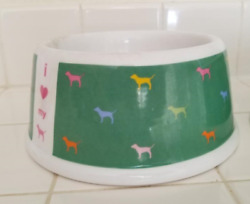 Set Of Two Victoria Secret Pink Rare Green I Love My Dog Bowls/ Limited Edition