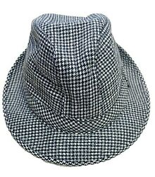 Cable Car Clothiers Robert Kirk Mens Fedora Cap 7 1/4 Houndstooth Wool Hat Italy