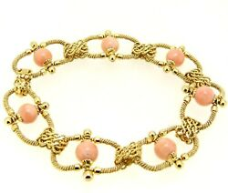 Vintage Bracelet Yearsand039 60 Unoaerre Yellow Gold Solid 18k With Coral Pink