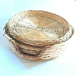 Wicker Rattan Bamboo Paper Plate Holders With Storage Basket, Vintage Boho