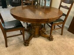 Antique Oak Dining Table Carved Lionand039s Head Claw Feet 2 Leaves 6 Chairs